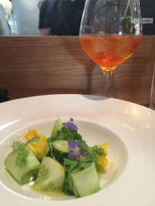 Cucumber three ways and Aperol Spritz
